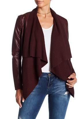 Blank NYC BLANKNYC Denim Faux Leather Drape Front Jacket