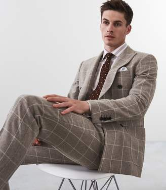 Reiss Bodium - Double Breasted Checked Blazer in Taupe/tan