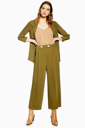 Topshop Khaki Crop Wide Leg Trousers