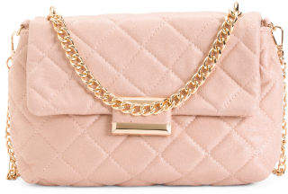Quilted Messenger With Chains