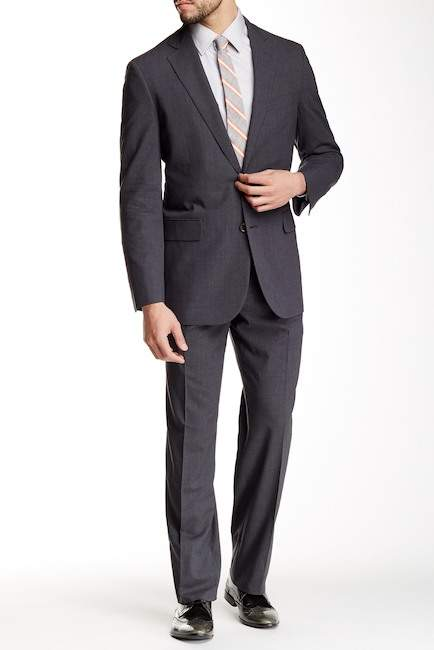 Brooks Brothers Brooks Brothers Classic Fit Notch Lapel Two Button Grey Sharkskin Suit