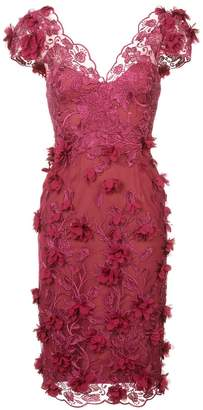 Marchesa embroidered floral-appliquéd dress