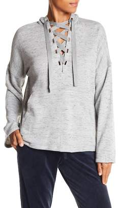 Max Studio Lace-Up Pullover Hoodie