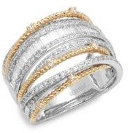 Effy 14K White Gold, Yellow Gold & Baguette Diamond Multi-Band Ring