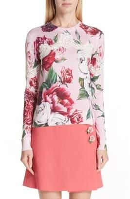 Dolce & Gabbana Lace Inset Peony Print Sweater
