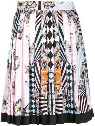 Versace Angeli Optical Illusion print skirt
