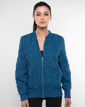 Embroidered Beaded Baroque Print Bomber Jacket
