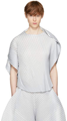 Pleats Please Issey Miyake Grey Alt Leaves T-Shirt