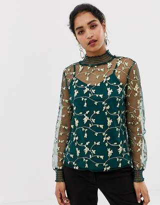 Vila Embroidered High Neck Top