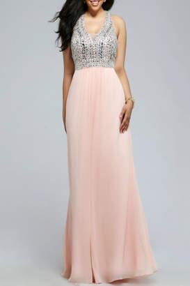 Faviana Halter Chiffon Sequin Dress