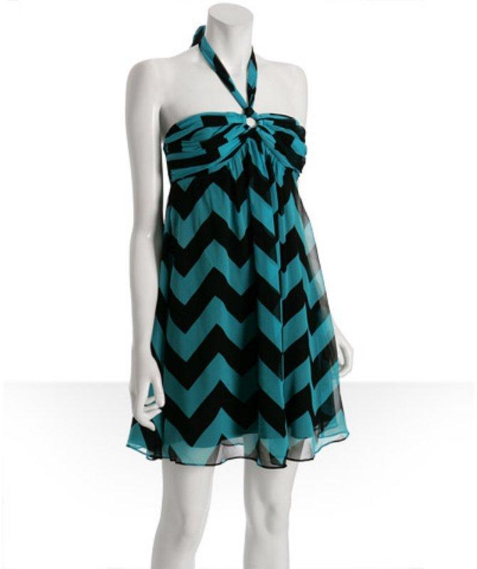 Betsey Johnson turquoise chevron silk chiffon halter dress