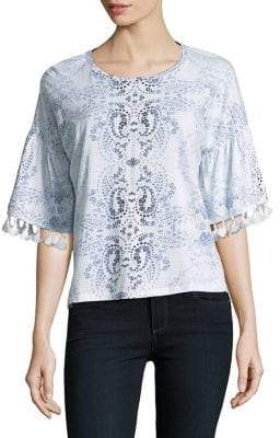 Lord & Taylor Plus Tassel Bell-Sleeve Top