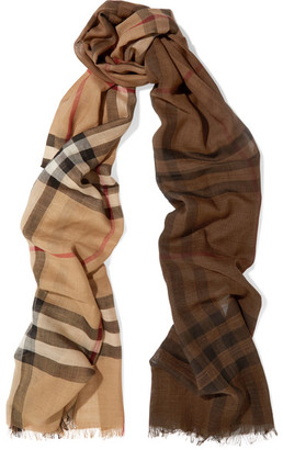Burberry - Checked Wool And Silk Blend Scarf - Camel $395 thestylecure.com