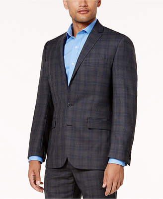 Ryan Seacrest Distinction Men's Gray and Blue Plaid Modern-Fit Jacket