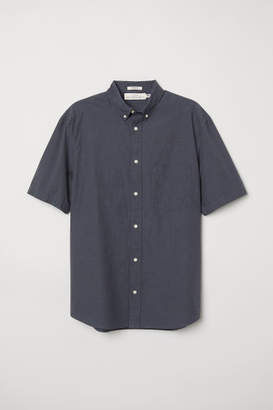 H&M Regular Fit Poplin Shirt - Black