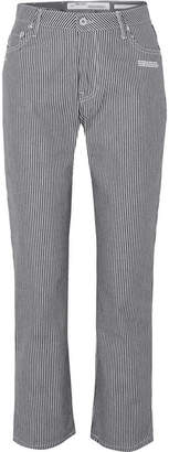 Off-White OffWhite - Cropped Striped High-rise Straight-leg Jeans
