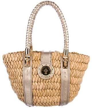 MICHAEL Michael Kors Leather-Trimmed Wicker Handle Bag