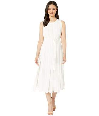 Vince Camuto Sleeveless Mix Media Pleated Overlay Belted Dress