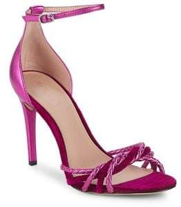 Rachel Zoe Aubrey Leather and Velvet Ankle-Strap Sandals