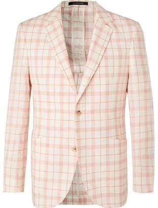 Richard James Ivory Checked Linen, Wool And Silk-Blend Blazer