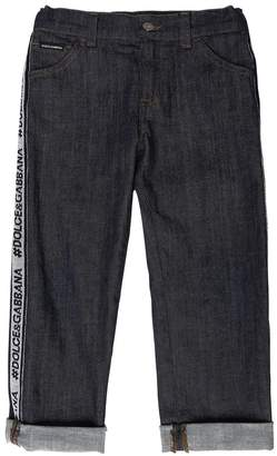 Dolce & Gabbana Stretch Denim Jeans With Logo Side Bands