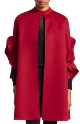 Valentino Flutter Trim Wool& Cashmere Cape