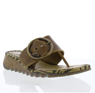 Fly London Trim Leather Low Wedge Toe Post Sandal