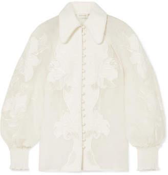 Zimmermann Corsage Appliquéd Linen And Silk-blend Blouse - Ivory