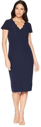 Maggy London Dream Crepe Sheath Dress with Scallop Neck Women's Dress