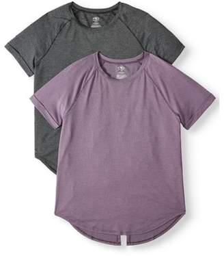 Athletic Works Women's Active Drawstring Tie Back Short Sleeve T-Shirt 2-Pack Bundle