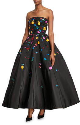 Oscar de la Renta Strapless Splatter-Embroidered Faille Gown