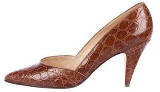 Gucci Vintage Crocodile Semi Pointed-Toe Pumps