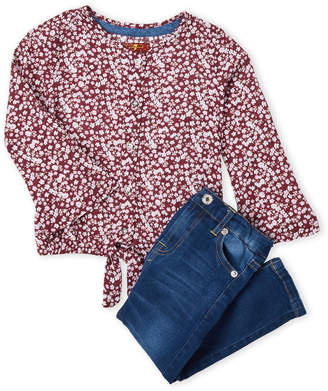 7 For All Mankind Toddler Girls) Two-Piece Floral Shirt & High-Rise Skinny Jeans Set