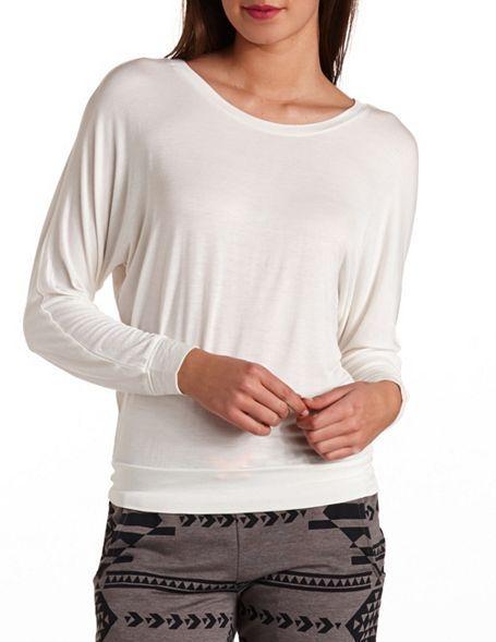 Charlotte Russe Slit Back Long Sleeve Shirt