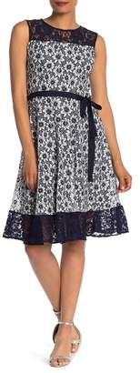 Gabby Skye Sleeveless Belted Two-Toned Lace Dress