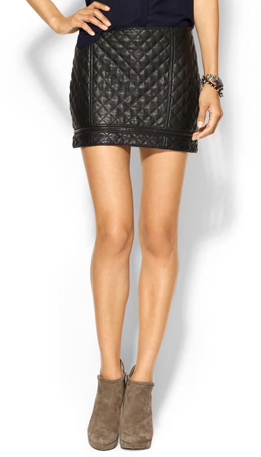 Haute Hippie Quilted Leather Mini Skirt