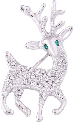 clear Acefeel Sika Deer Elk Crystal Animal Brooches and Pins Jewelry Gift BR016