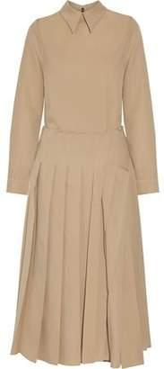 Rochas Pleated Wool Midi Dress
