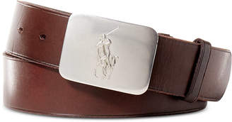 Polo Ralph Lauren Men's Belt, Vacchetta Leather Logo Plaque