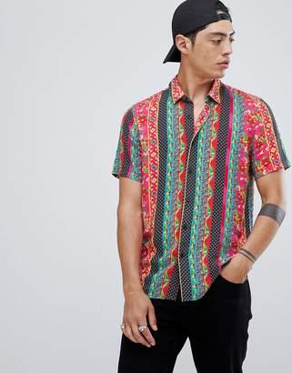 Asos Design DESIGN regular fit floral stripe shirt with polka dots