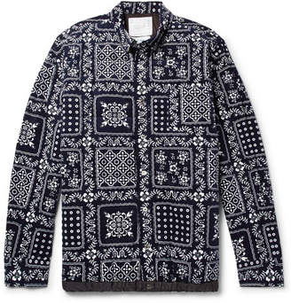 Sacai Quilted Printed Cotton-Corduroy Shirt