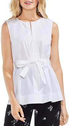 Vince Camuto Poplin Sleeveless Belted Top