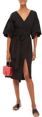 Women's Topshop Balloon Sleeve Wrap Dress $110 thestylecure.com