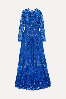 Naeem Khan Sequined Tulle Gown - Blue