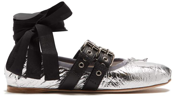 MIU MIU Buckle-fastening laminated-leather ballet flats