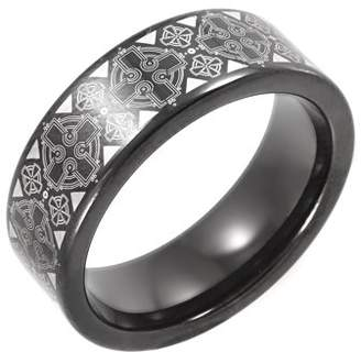 Celtic Unbranded Men's Black IP Tungsten Cross Pattern Wedding Band - Mens Ring