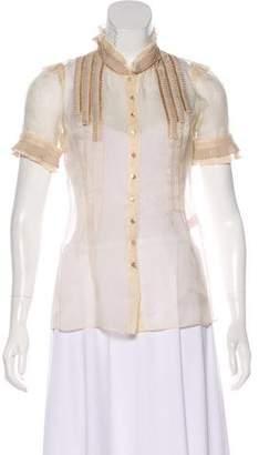 Rebecca Taylor Silk Pin Tucked Blouse