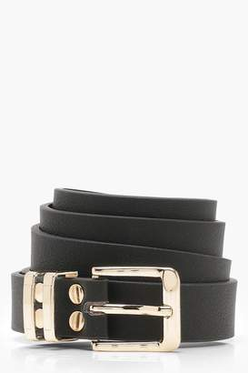 boohoo Tipped Square Buckle Boyfriend Belt