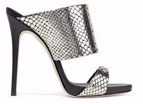 Giuseppe Zanotti Andrea Snake-Effect Mirrored-Leather Mules