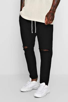 boohoo Tapered Fit Drawstring Chino With Ripped Knee